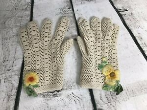 Vintage-Floral-Crochet-Dress-Gloves-Child-Kid-1st-communion-wedding-Easter