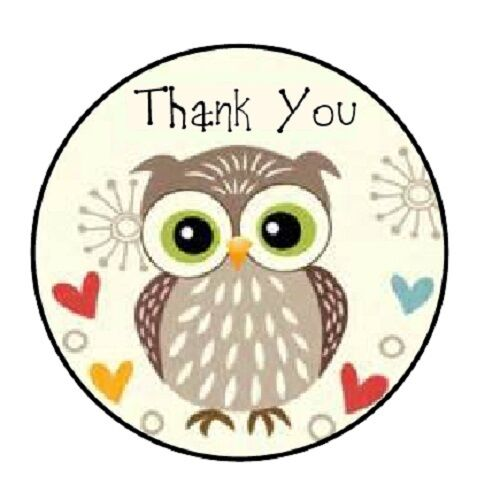 """48 Thank You Owl #2! ENVELOPE SEALS LABELS STICKERS 1.2/"""" ROUND"""