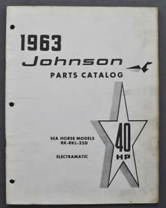 Details about 1963 Johnson Outboard Motor Parts Catalog 40HP Sea Horse  RK-RKL-25D Electramatic