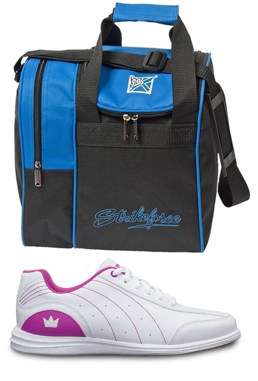 Girls MYSTIC Bowling Ball shoes White Fuchsia Sizes 1-6 & bluee 1 Ball Bag