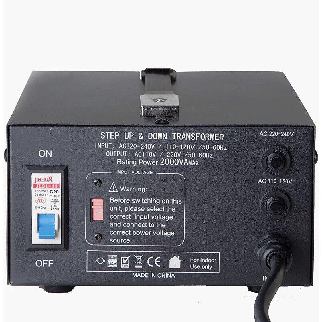 2000W Voltage Converter Transformer Step Up and Down Transformer 110 to 220V USB