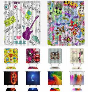 71X71-034-Rideau-de-douche-tissu-impermeable-avec-12-crochets-salle-de-bain-Tapis-Design-10