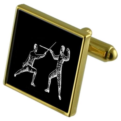 Sport espada esgrima Tono Dorado Gemelos De Cristal Clip de Corbata Conjunto de Regalo