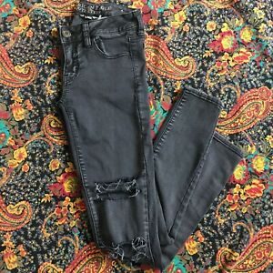 American-Eagle-Sz-0-Gray-Hi-Rise-Jegging-Jeans-Skinny-Super-Stretch-AEO-Denim-X
