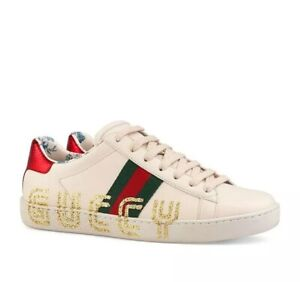 ed18dc9a Details about Gucci Ace Leather Guccy Print Sneakers Size 39EU/9US $830.00  *S/S 2019 Style*