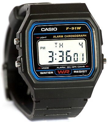 NEW CASIO F91 DIGITAL ALARM SPORTS MEN' S WATCH F91W-1