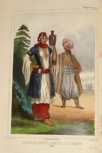 Litho-couleur-COSTUME-NAZARETH-NAPLOUSE-PALESTINE-ORIENT-ARABE-ORIENTALISTE-1840
