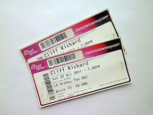 CLIFF-RICHARD-MEMORABILIA-Unused-Tickets-Stubs-Birmingham-LG-Arena-22-10-11