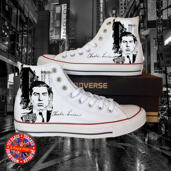 Lucky Luciano Mug Shot Hi Top All Star Chuck Taylor Converse, Mobster, Maffia