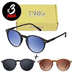 Tris occhiali da sole TWIG Pack WEIL [Premium] uomo/donna tondi vintage fashion