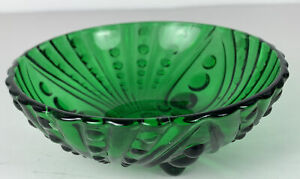 Vintage Anchor Hocking Green Hobnail 3 Footed Candy Condiment Trinket Dish Bowl