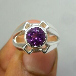 8-MM-Faceted-Round-Natural-AAA-Amethyst-925-Sterling-Silver-Classic-Unisex-Ring