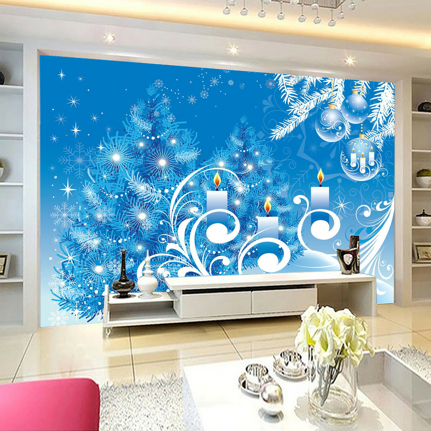 3D bluee Candle Pine 84 Wall Paper Murals Wall Print Wall Wallpaper Mural AU Kyra