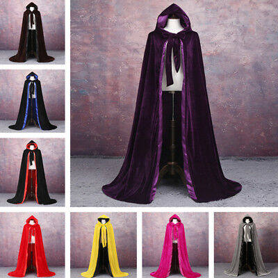 New Gothic Hooded Velvet Cloak Gothic Wicca Robe Medieval Witchcraft Larp Cape