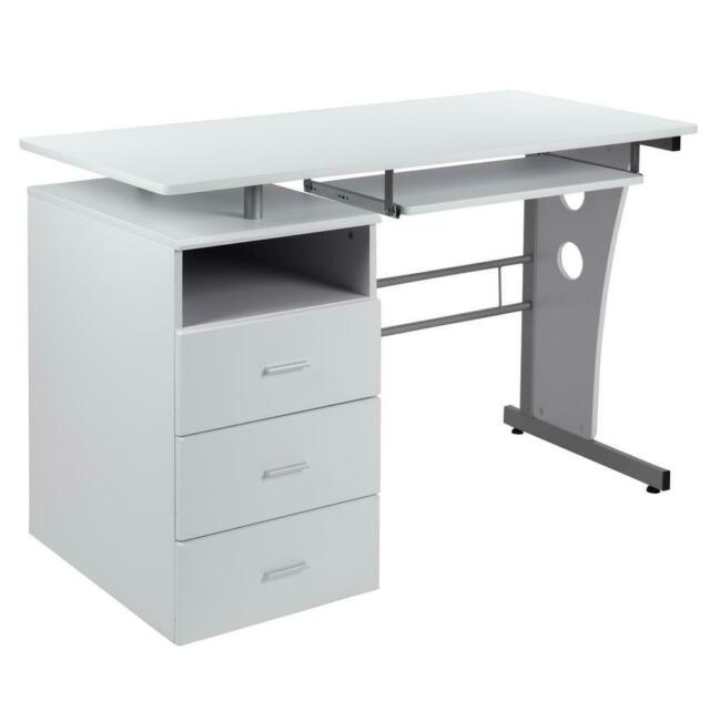 Flash Furniture White Desk With Three, Flash Furniture Black Computer Desk With Pull Out Keyboard Tray