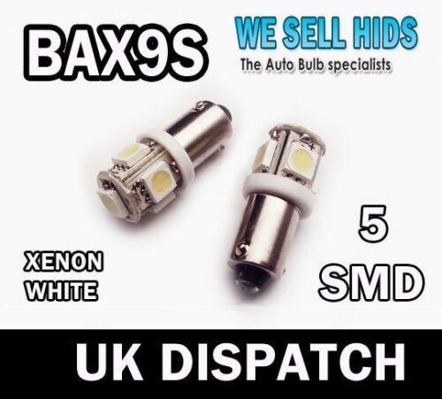 BAX9S 5SMD LED WHITE SIDE LIGHT 434 BAX9S H6W OFFSET PINS PARKING LIGHTx2 bulb