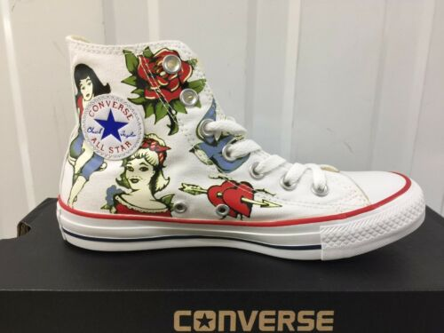 s Trainer Tattoo 14 Bnib Women Girl Converse Ct s White Hi Canvas dHUwHz
