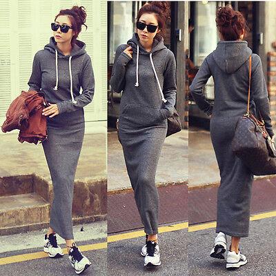 Women girls Retro Fleece Autumn Winter Bodycon long sleeve pullover hoodie dress