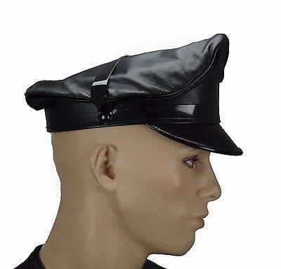 New Leather Muir Cap Black,Gay Leather Army Cap,Biker Cap,Peaked Cap,Police Hat