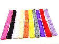 10X Girls Baby Headband Crochet Elasticated Lace Hairband Kids Hair Headwear