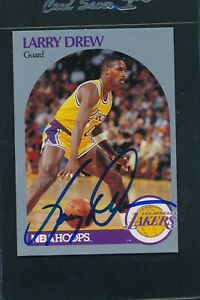 1990/91 Hoops #155 Larry Drew LA Lakers Signed Auto *A1041