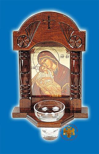 Icona Ortodossa Santuario Con Glas Coppa dell/'Olio per il muro 17x27cm ikonenschrein Ikonen