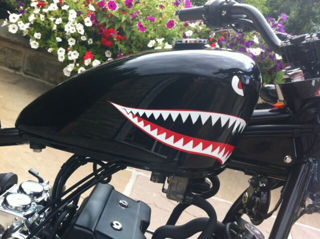 Shark teeth eyes decal retro sticker p40 warhawk small motorbike bobber