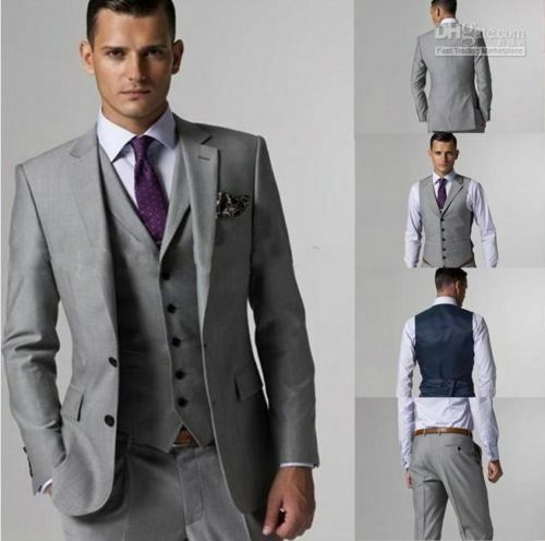 Custom Made Light Gray Men Wedding Suits Groom Tuxedos Formal ...