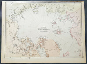 Map Of Canada 1870.Details About 1870 John Bartholomew Large Antique Map Of North Pole Arctic Regions Canada