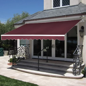 10' x 8' Manual Retractable Patio Awning Canopy Shade ...