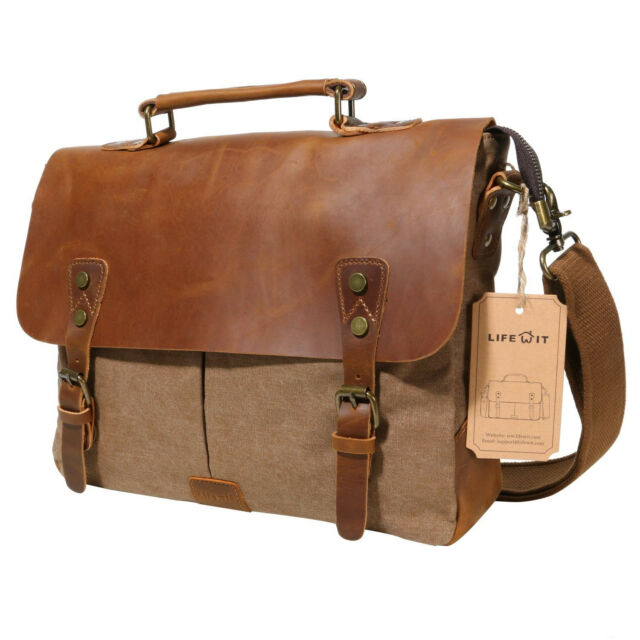 6db8c06e21 Lifewit Vintage Messenger Bag Leather Canvas Shoulder School Military  Travel Men