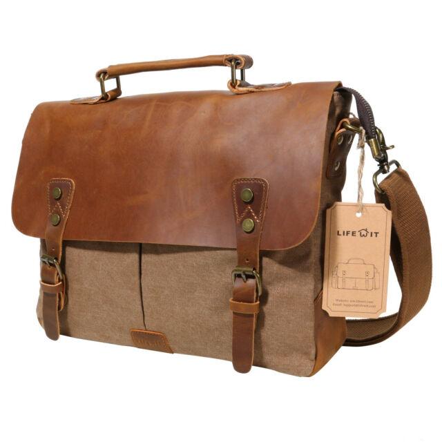 Lifewit Vintage Messenger Bag Leather Canvas Shoulder School Military Travel Men