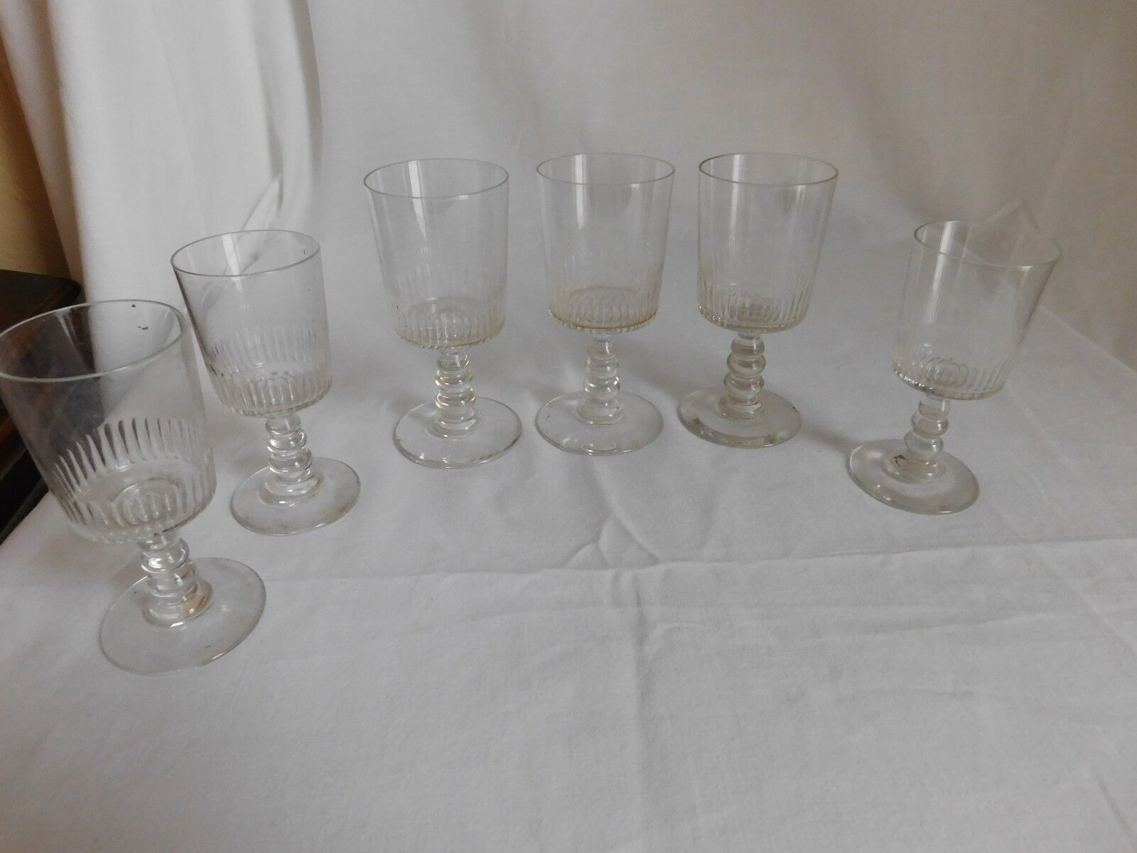 Set of six antique glasses crystal carved sides hollow