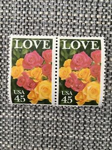 Image Is Loading 1988 Love Roses 45 Cent Stamp 2 Stamps