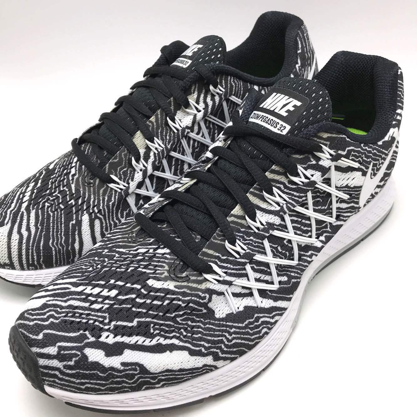 NIKE AIR ZOOM PEGASUS 32 PRINT Black/White Men's Running 806805 001 Box tear