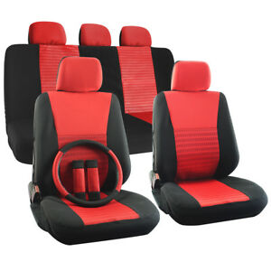 Car Seat Cover Set for Ford Fusion w/Steering Wheel/Head Rests Red Full Stripe