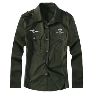 Mens-Long-Sleeve-Shirts-Military-Army-Slim-Air-Force-Cotton-Embroidered-WC6308