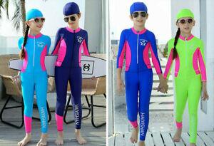Kids-Girls-One-Piece-Swimsuit-Long-Sleeve-Swimwear-Surf-Jumpsuit-Swim-Costume