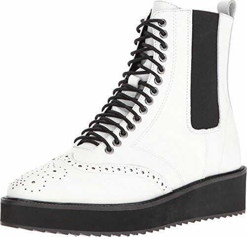 Shellys London Lily White White White Leather Lace-Up Chelsea Platform Wingtip Combat Boot c940b5