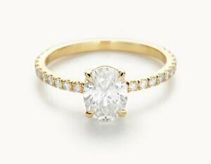 1.30 Ct Solitaire Moissanite Engagement Ring Solid 18K Yellow Gold ring Size 8 9