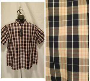 New-Roundtree-amp-Yorke-Men-039-s-Size-Large-Button-Down-Black-Plaid-Short-Sleeve-Shirt