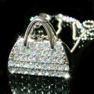 w Swarovski Crystal sexy Party HANDBAG Bag PURSE Pendant Chain Necklace Xmas NEW