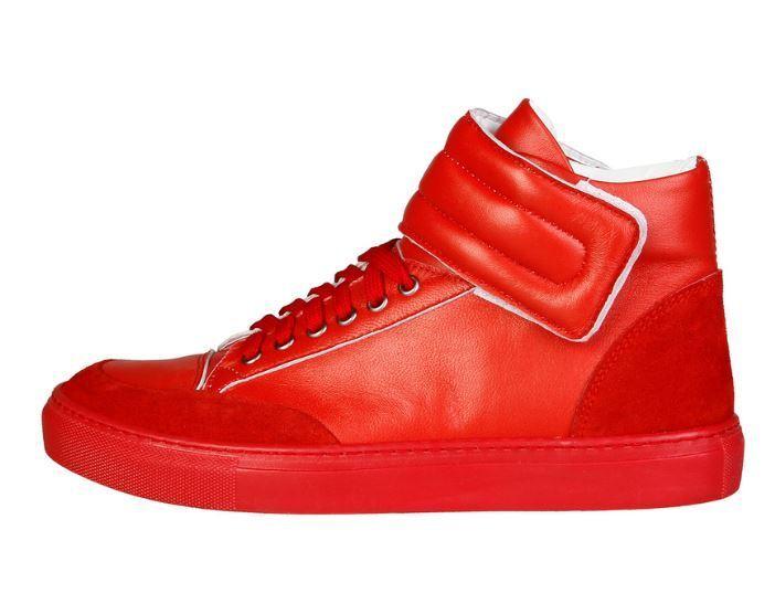 Nuevo [] versace v1969 nestor rojo rojo cuero genuino Hi top cortos