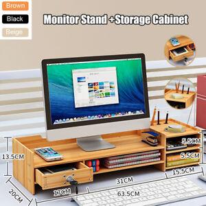 Adjustable Wooden Monitor Riser Keyboard Mouse Holder Desk Organize