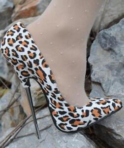 f0dbca1b8cc Details about Womens 16cm Stilettos Pointed Toe Leopard Heels Nightclub  Super Sexy Shoes