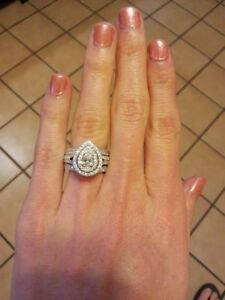 1 5ct Pear Shaped Double Halo Diamond Engagement Ring Band Set 14k