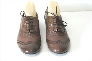 MURATTI-Derby-a-Lacets-Cuir-Verni-Marron-Taupe-Doubles-Cuir-T-40-TBE