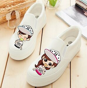 Brand-New-Womens-Fashion-Hand-painted-Sweet-Lovers-Slip-on-White-Canvas-Shoes