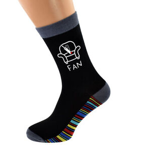 Armchair Cricket Fan Stripey Sole Mens Socks UK Size 5-12 ...
