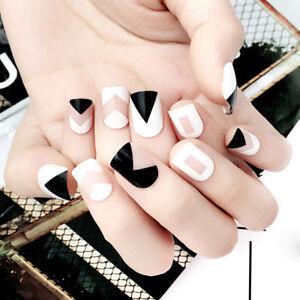 24pcs-Short-Fake-Nails-Art-Tips-Acrylic-Nail-False-French-Artificial-Full-BP